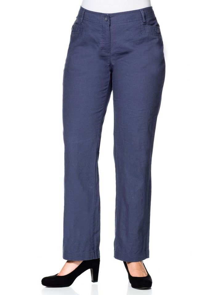sheego Class Weite Leinen-Hose in jeansblau