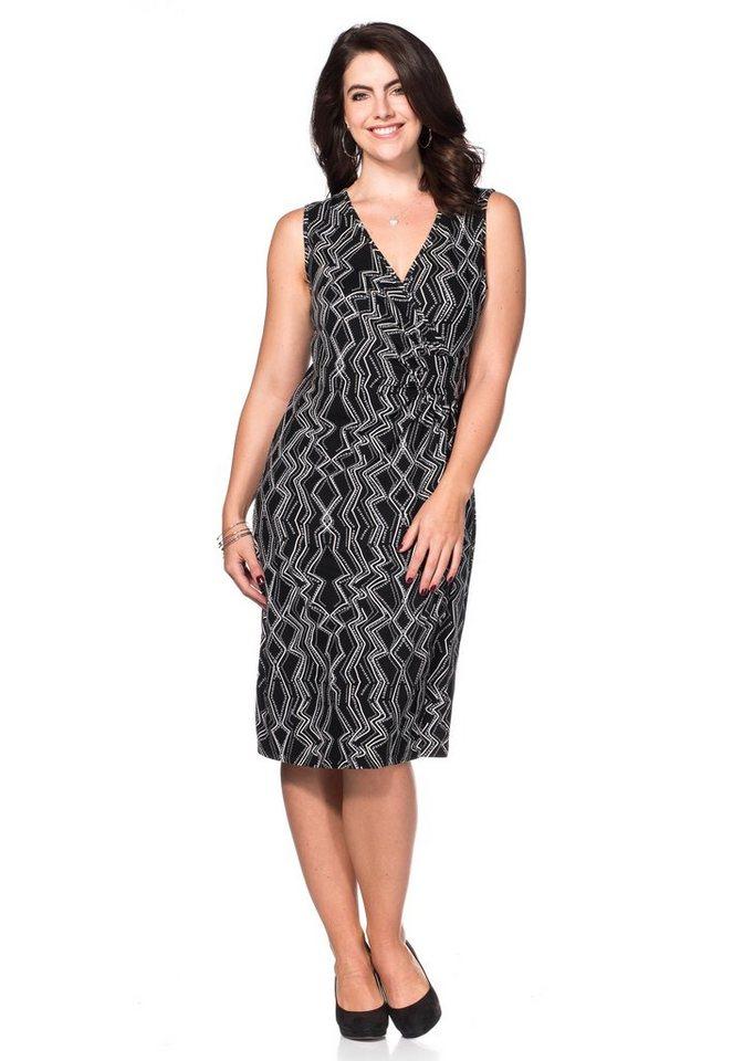 sheego Style Jerseykleid mit Alloverdruck in schwarz-grau
