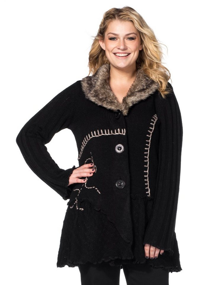 Joe Browns Longstrickjacke mit kontrastfarbener Stickerei in schwarz