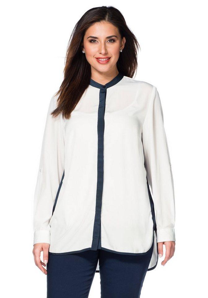 sheego Class Langarm-Bluse in weiß