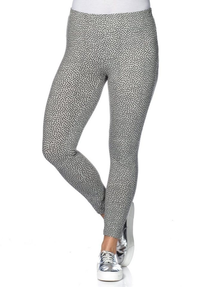 sheego Casual Stretch-7/8 Leggings in grau meliert