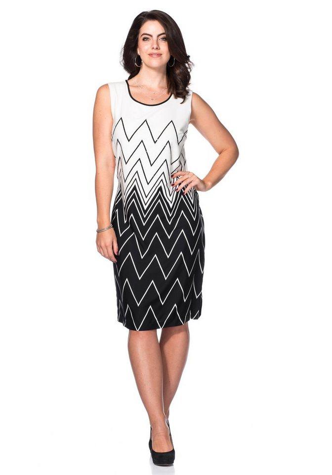 sheego Style Kleid in schwarz-weiß