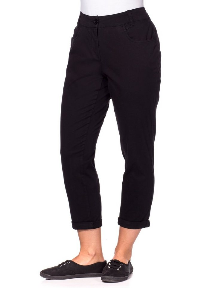 sheego Casual Schmale Stretch-Hose in 7/8-Länge in schwarz