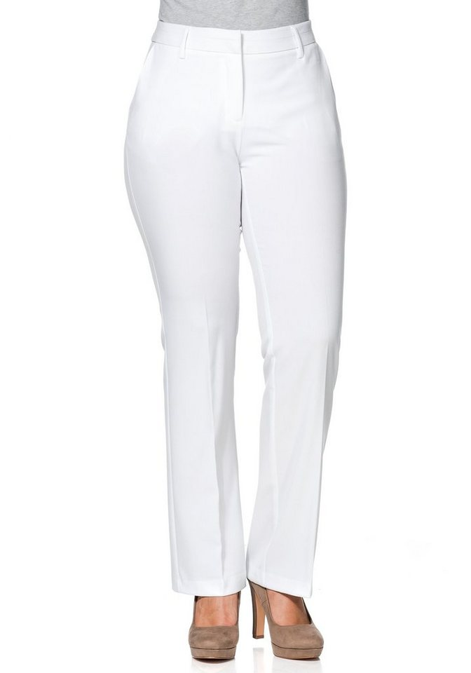 sheego Class Bootcut Stretch-Hose in weiß