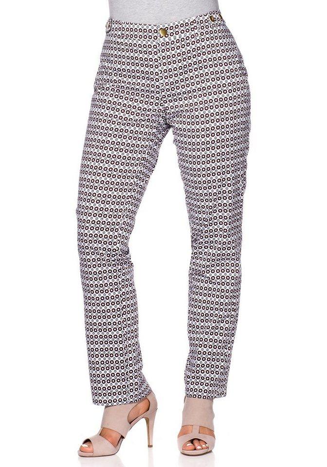 sheego Trend Schmale Stretch-Hose in allover bedruckt