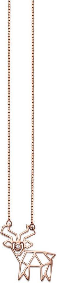 caï Women Kette mit Anhänger mit Zirkonia, »Rentier, C7098N/90/03/39+5« in Silber 925-roségoldfarben vergoldet