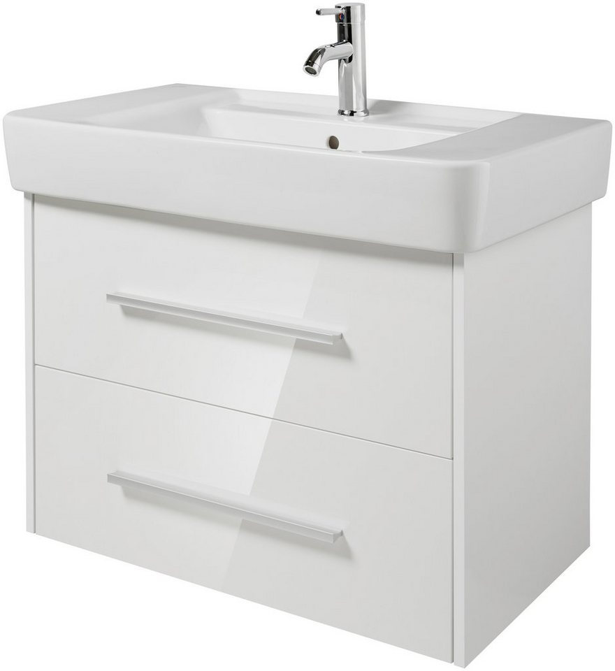 Waschtisch »Keramag Renova Nr.1 Plan, Mod.Nr. 122185 inkl. Unterbauschrank«, Breite 85 cm, (2-tlg.) in weiß