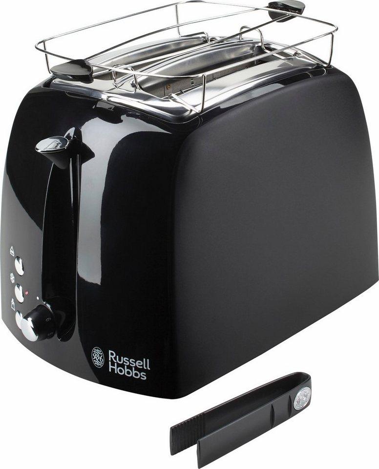 Russell Hobbs Toaster Textures Plus 22601-56 für 2 Scheiben, 850 Watt, schwarz in schwarz