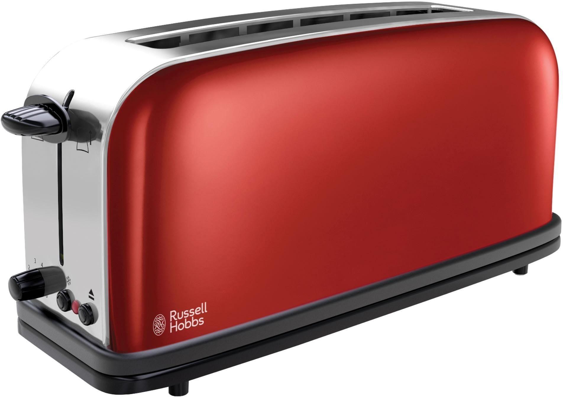 Russell Hobbs Langschlitz-Toaster Colours Flame Red 21391-56, 1000 Watt, Edelstahl rot lackiert