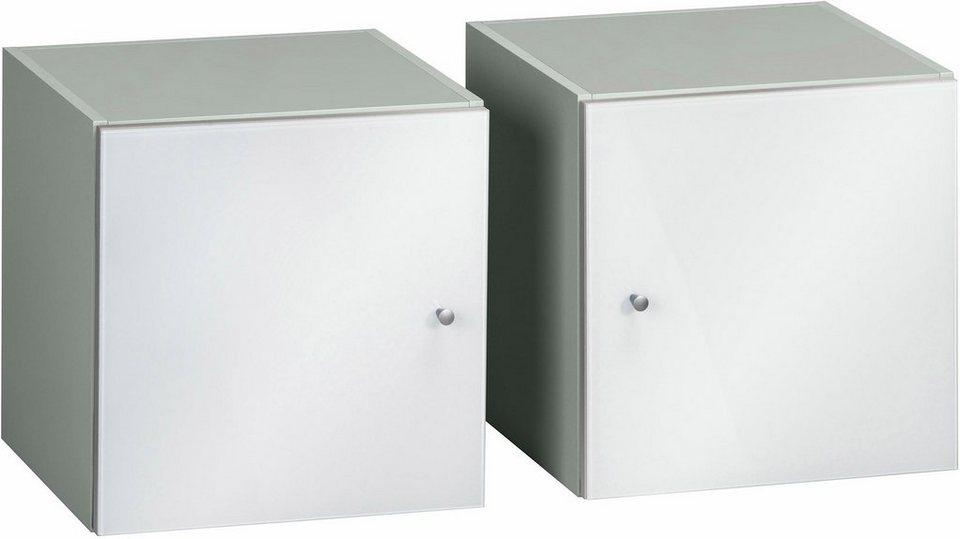 Maja Möbel Würfel-Einsatz »Rocks« (2er-Set), Front aus Weißglas in grau/Weißglas