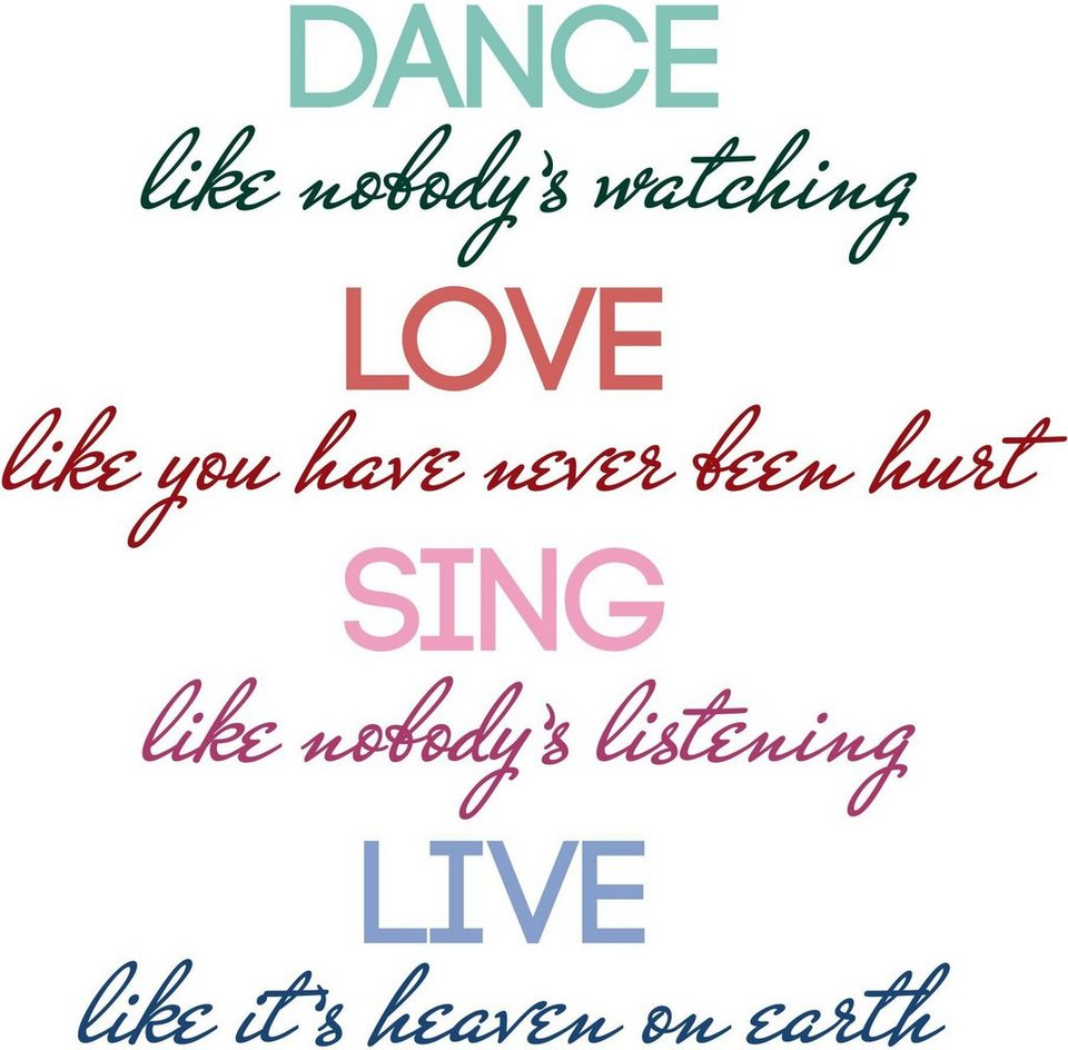 Home affaire Wandtattoo »Dance, love, sing, live«, 102/100 cm in bunt
