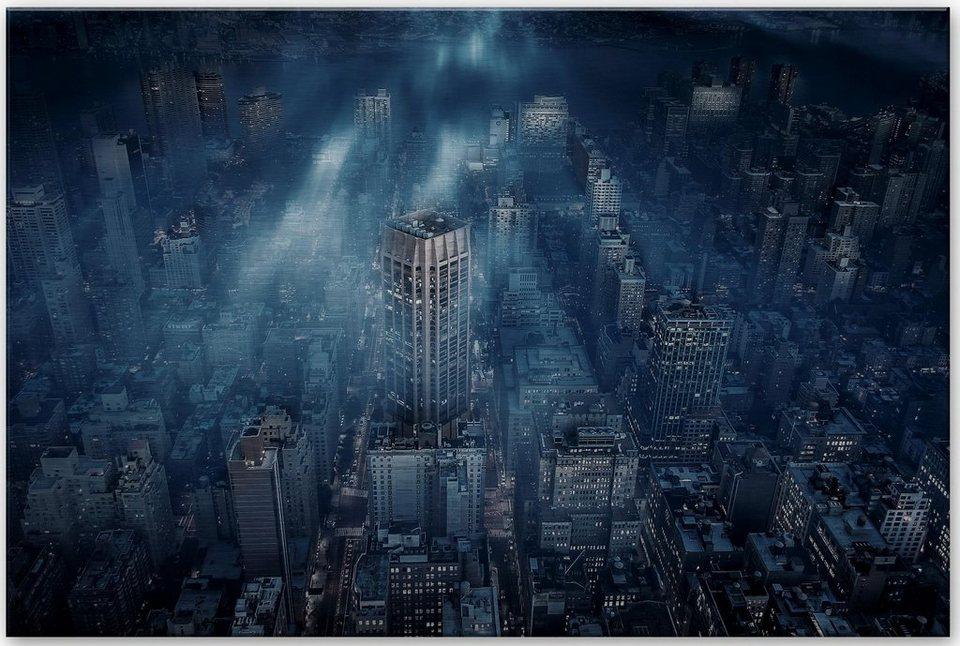 Home affaire Alu-Dibond Bild »Silber Løndal - Nebel in NYC«, 60/40 cm in dunkelblau