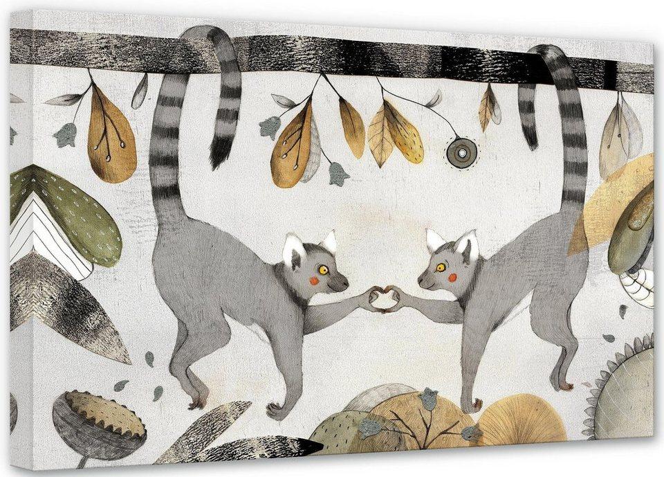 Home affaire Leinwandbild »Loske - Kattas in Love«, 80/50 cm in beige/grau