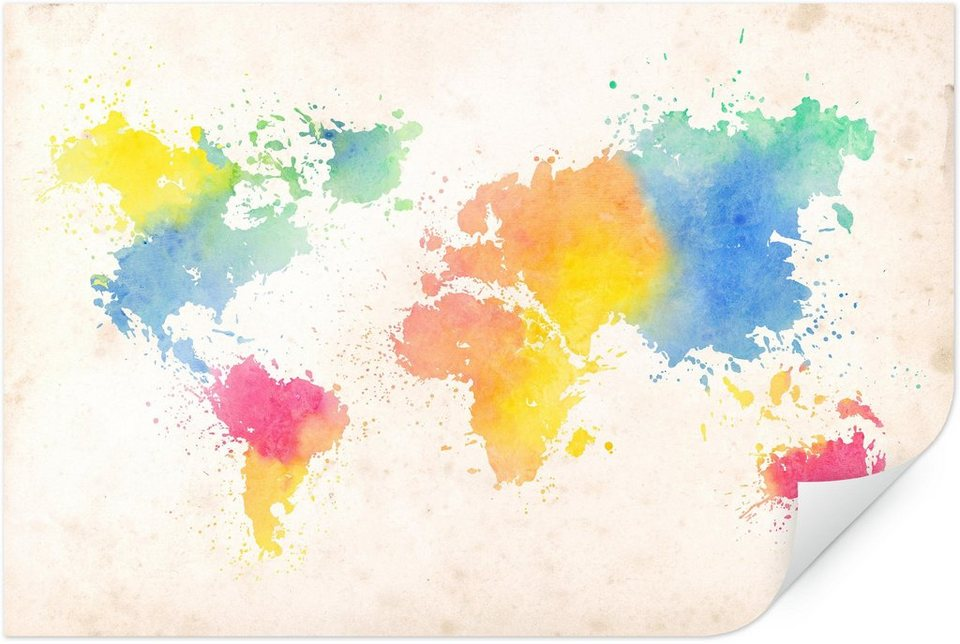 Home affaire Poster »Weltkarte - Watercolour«, 100/70 cm in bunt