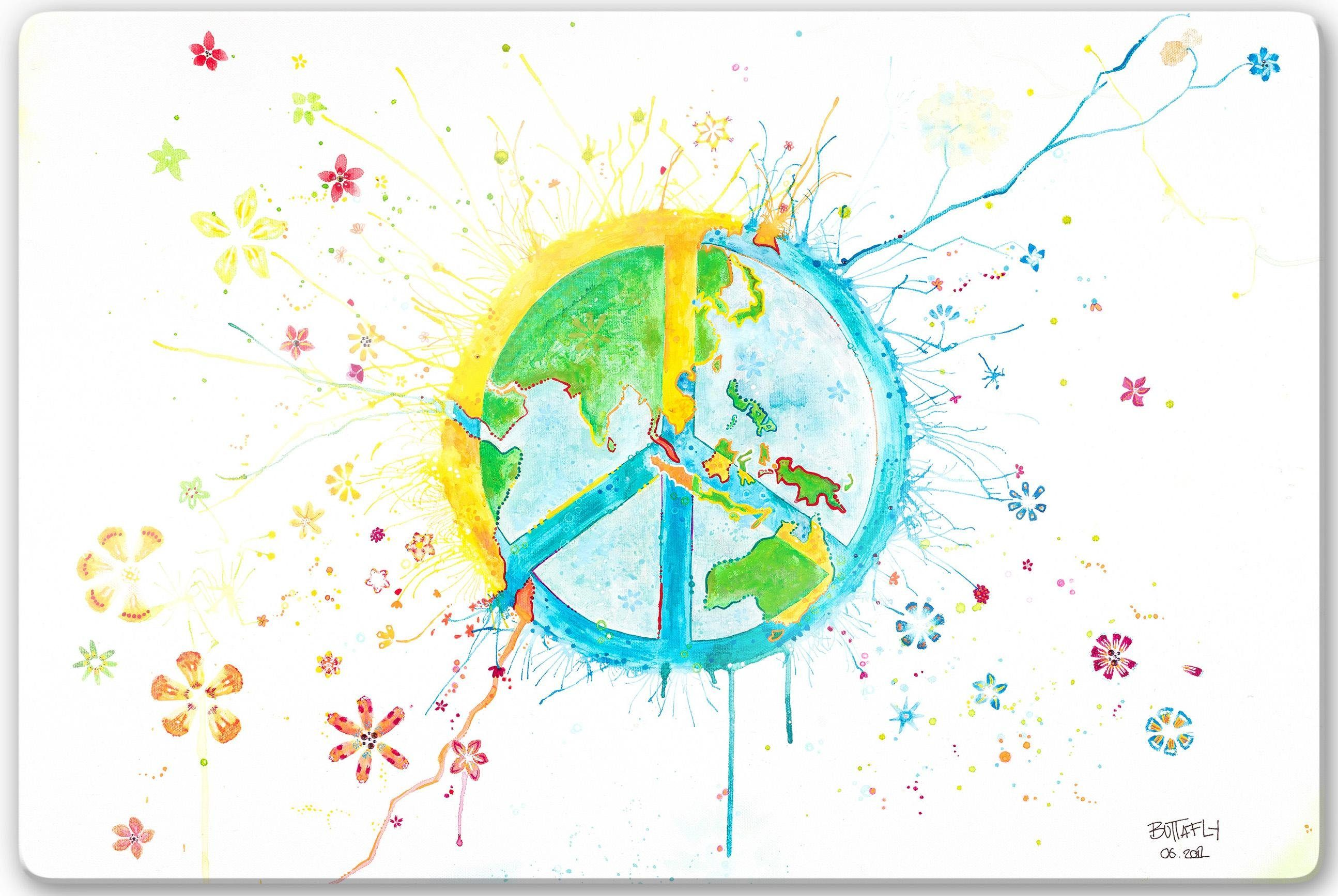 Home affaire Glasbild »Buttafly - Peace«, 60/40 cm