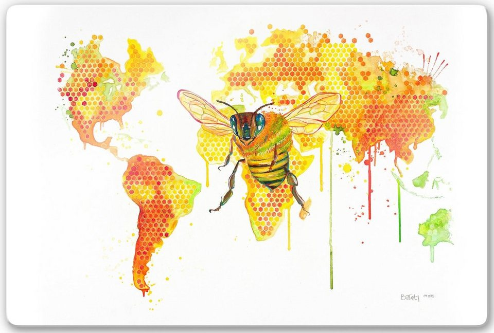 Home affaire Glasbild »Buttafly - Bees World«, 60/40 cm in weiß/gelb