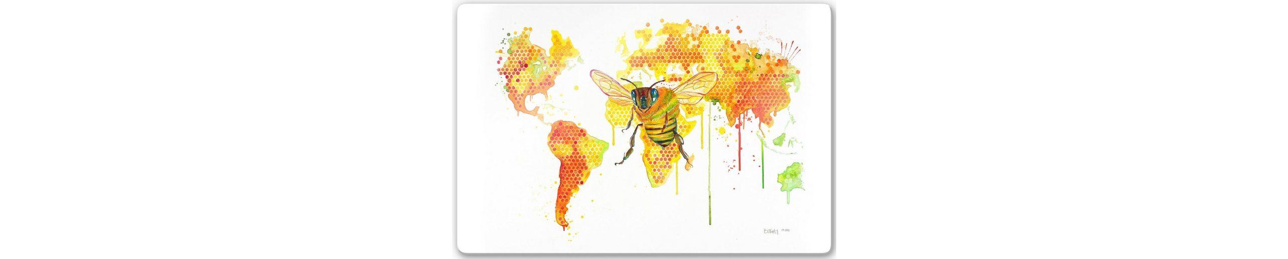 Home affaire Glasbild »Buttafly - Bees World«, 60/40 cm