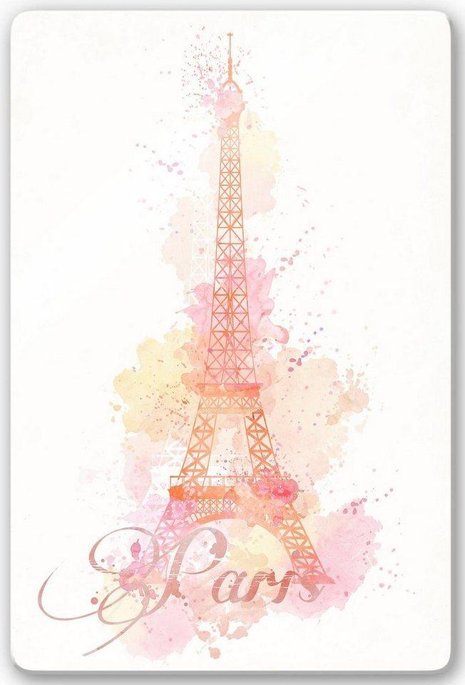 Home affaire Glasbild »La Tour Eiffel Aquarelle«, 40/60 cm in weiß/rosa