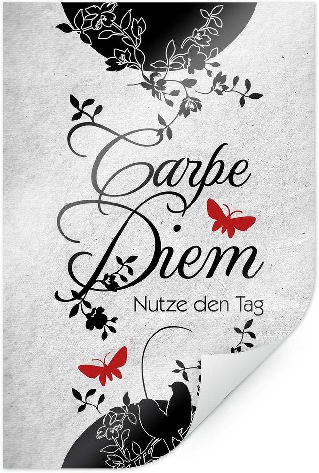 Home affaire Poster »Carpe Diem 2«, 60/90 cm in weiß/schwarz