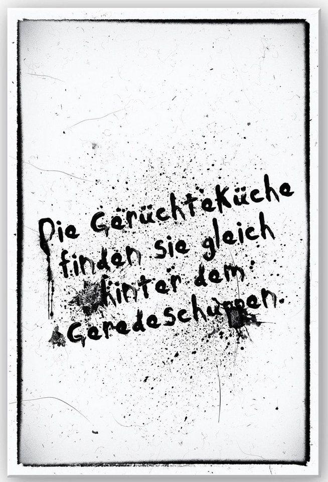 Home affaire Wandbild »Die Gerüchteküche finden Sie …«, 30/40 cm in weiß/schwarz