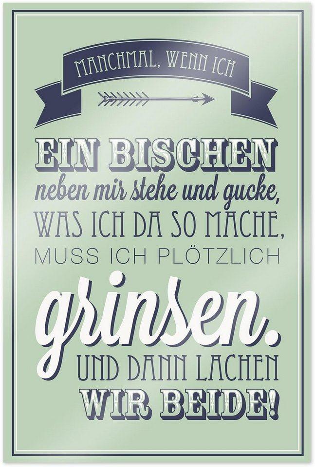Home affaire Poster »Manchmal, wenn ich ein …«, 60/90 cm in lindgrün/grau