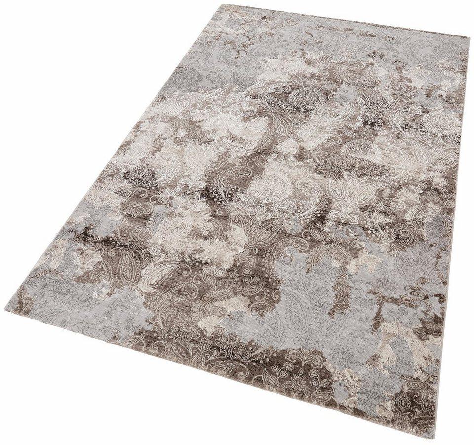 Teppich, merinos, »Edina«, Vintage, Hoch-Tief-Effekt in braun grau