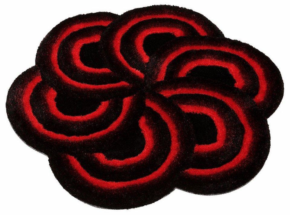 Hochflor-Teppich, rund, Bruno Banani, »Hadia«, Höhe 15-35 mm, handgetuftet in schwarz-rot
