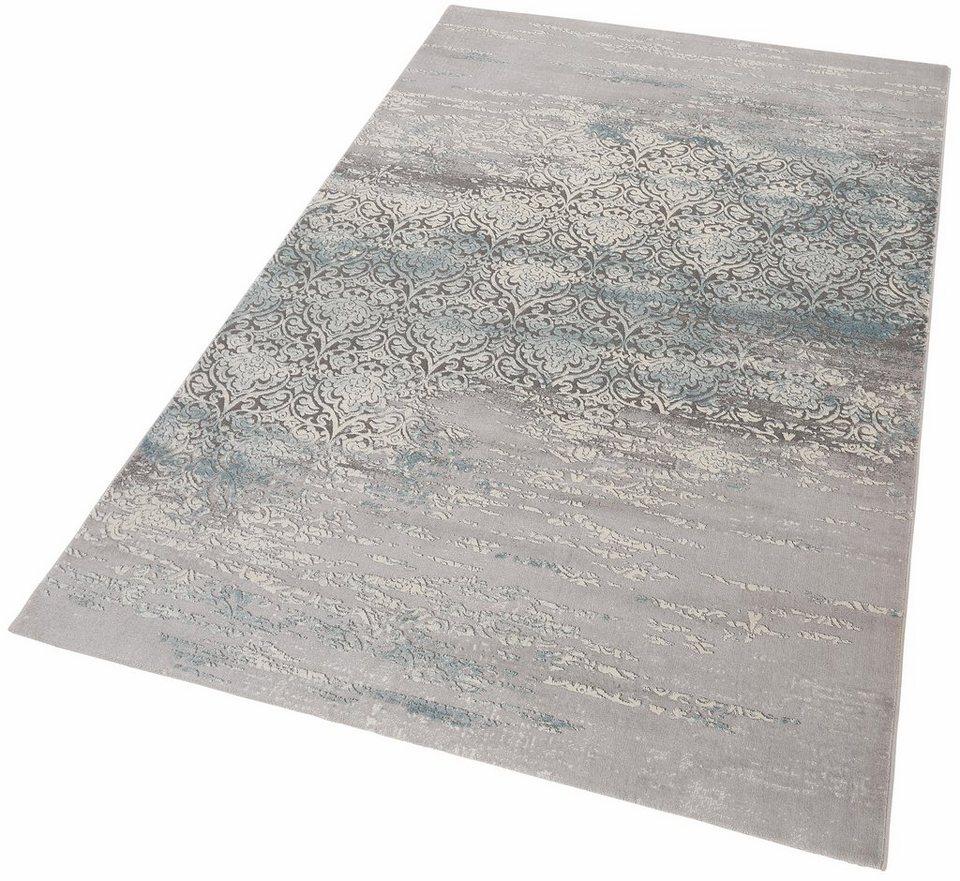 Teppich, merinos, »Danica«, Vintage, Hoch-Tief-Effekt in blau grau