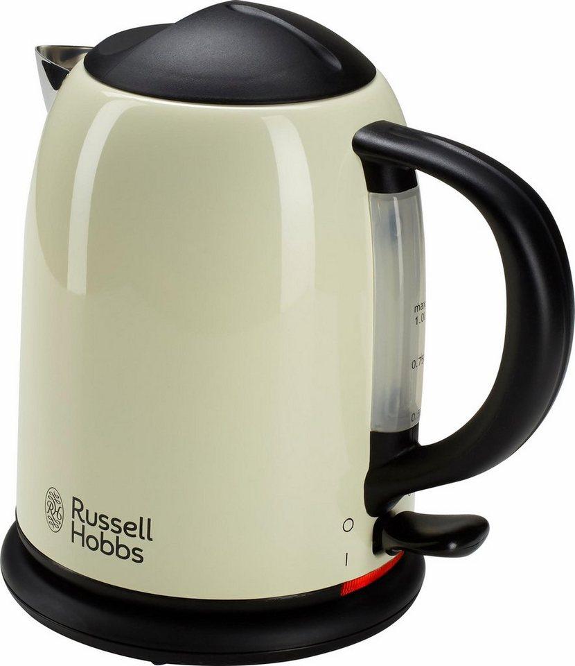 Russell Hobbs Kompakt- Wasserkocher Colours Classic Cream 20194-70, 1 Liter, 2200 Watt in creme