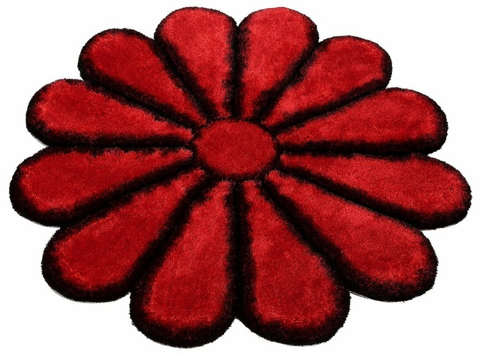 Hochflor-Teppich, rund, Bruno Banani, »Karja«, Höhe 35 mm, handgetuftet in schwarz-rot