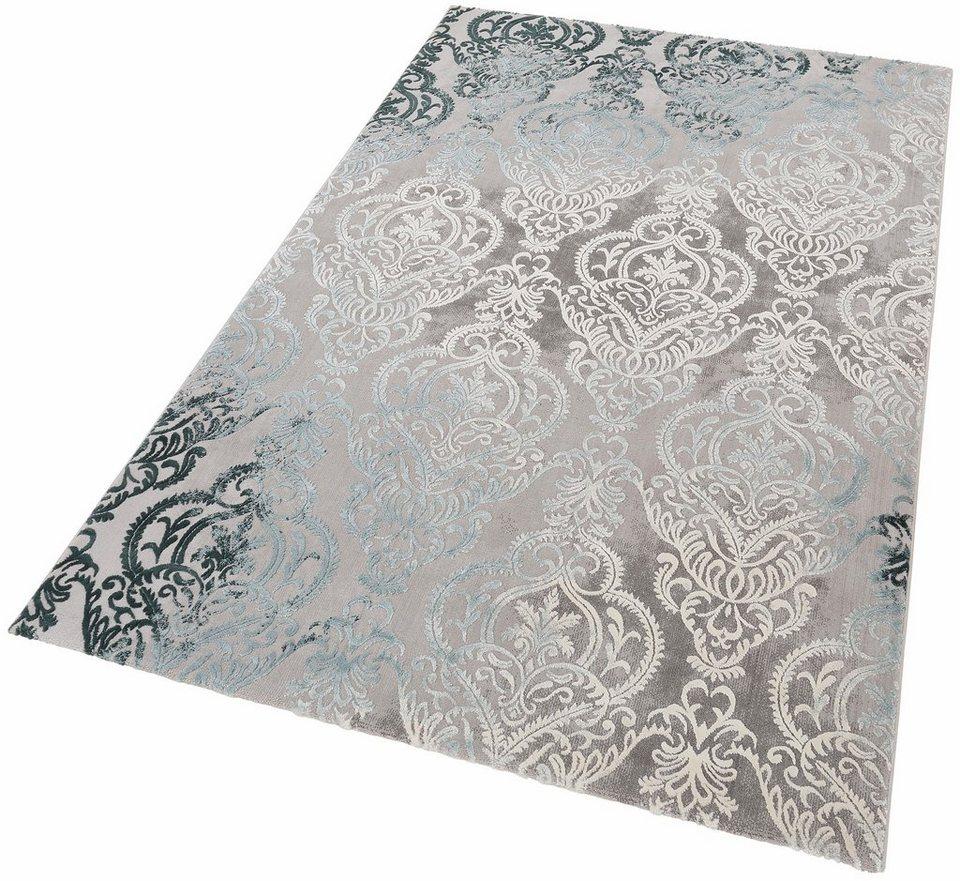 Teppich, merinos, »Bahar«, Vintage, Hoch-Tief-Effekt in blau grau