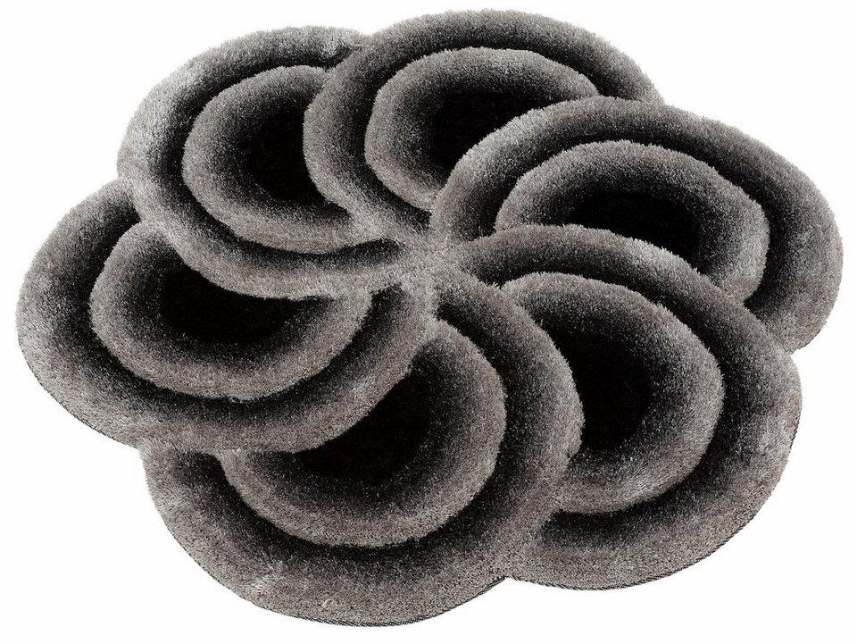 Hochflor-Teppich, rund, Bruno Banani, »Hadia«, Höhe 15-35 mm, handgetuftet in schwarz-grau