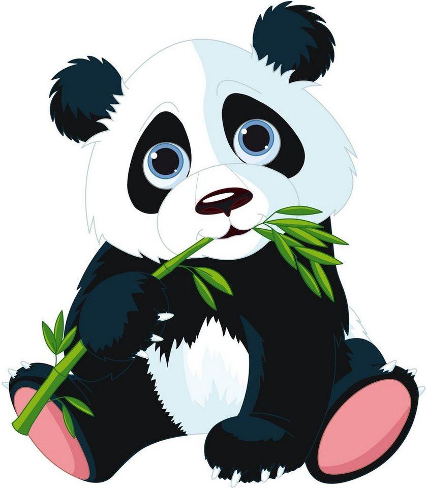 Home affaire Wandtattoo »Naschender Panda«, 50/57 cm in schwarz/weiß/grün