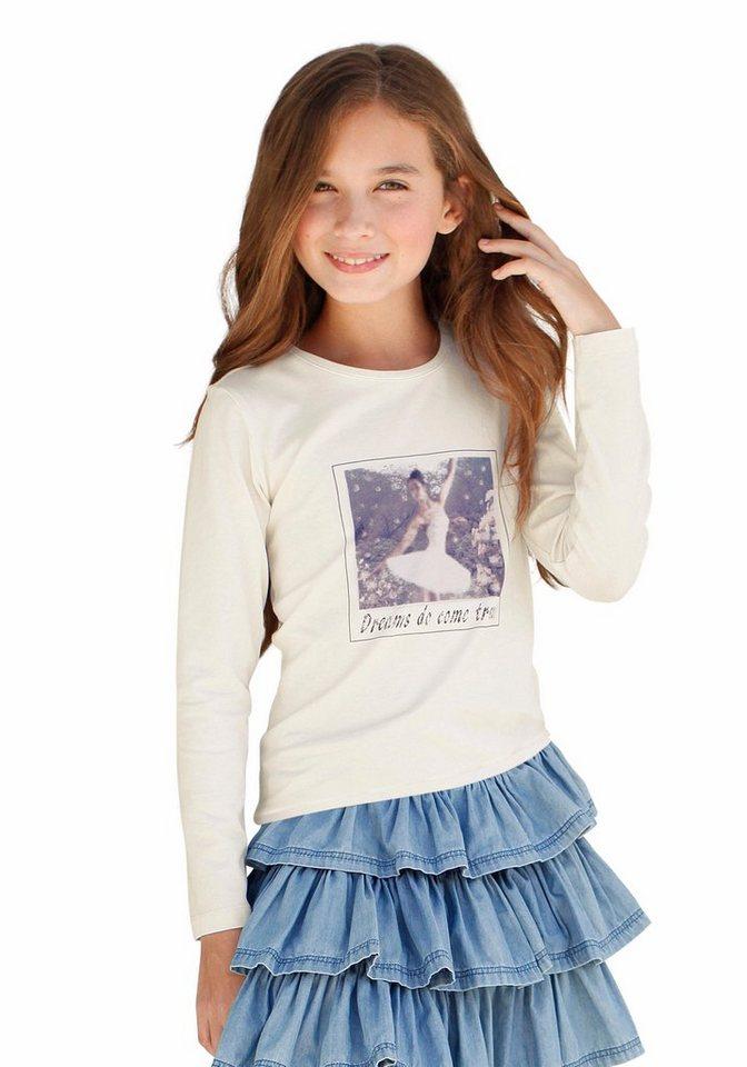 KIDSWORLD Langarmshirt mit Fotodruck, für Mädchen in Natur