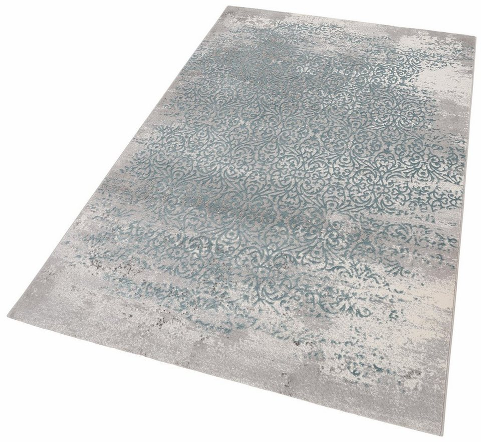 Teppich, merinos, »Gayla«, Vintage, Hoch-Tief-Effekt in blau