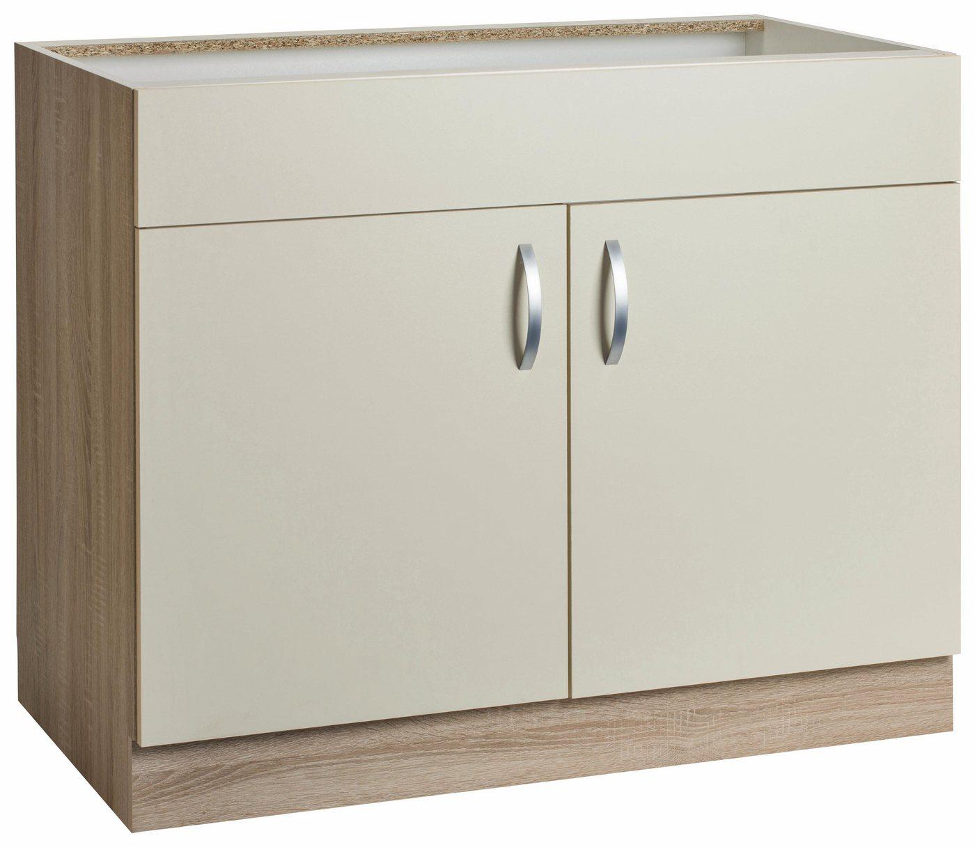 Spülenschrank »Flexi«, Breite 100 cm | Küche und Esszimmer > Küchenschränke > Spülenschränke | Gelb | Melamin | wiho Küchen