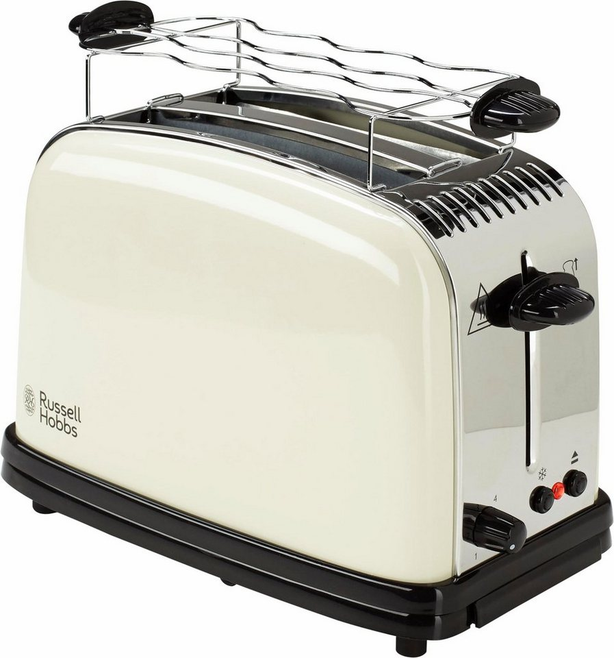 Russell Hobbs Toaster Colours Classic Cream 23334-56, max. 1670 Watt, Edelstahl creme lackiert in creme/schwarz