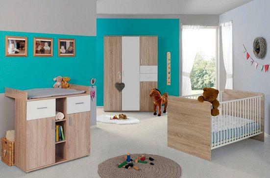 BMG Babyzimmer-Komplettset »Maxim«, (Set, 3-St), Bett + Wickelkommode + 4-trg. Schrank