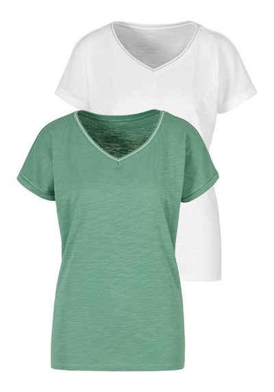 H.I.S T-Shirt (2er-Pack) mit modischem Lurexstreifen