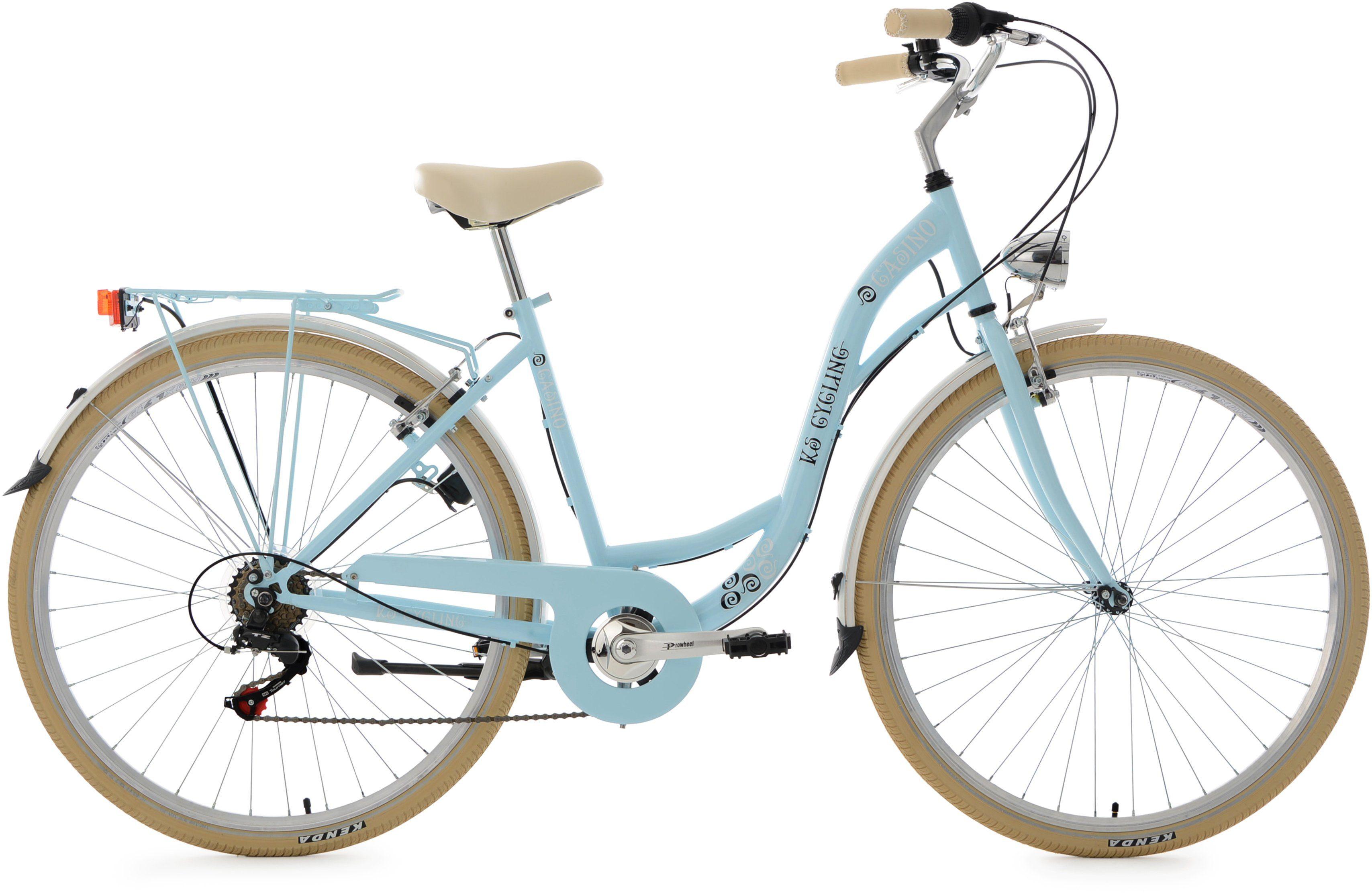 KS Cycling Damen-Cityrad, 28 Zoll, hellblau, Shimano 6 Gang-Kettenschaltung, »Casino«