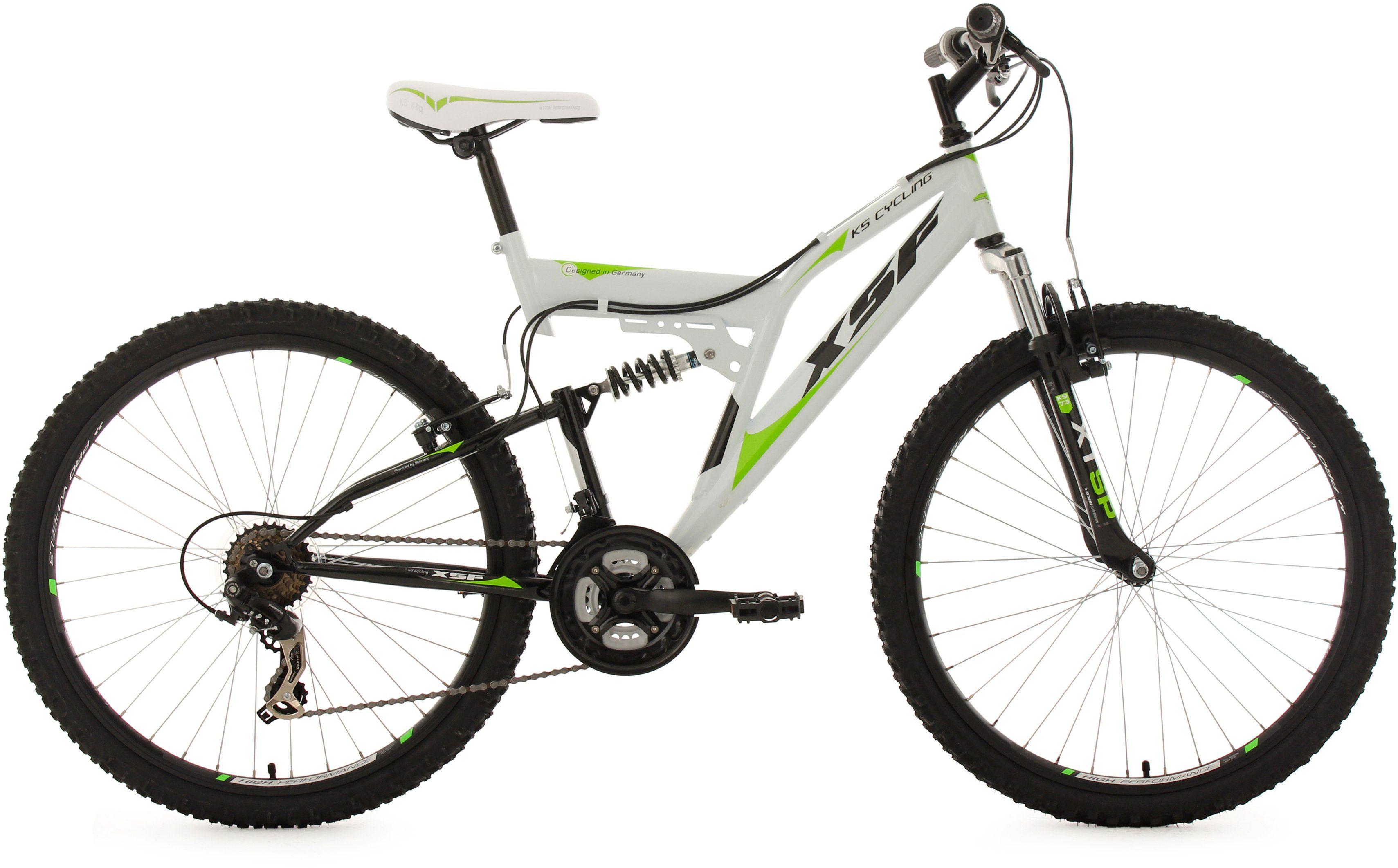 KS Cycling Hardtail-Mountainbike Herren, 26 Zoll, weiß-grün, 21 Gang-Kettenschaltung, »XSF«