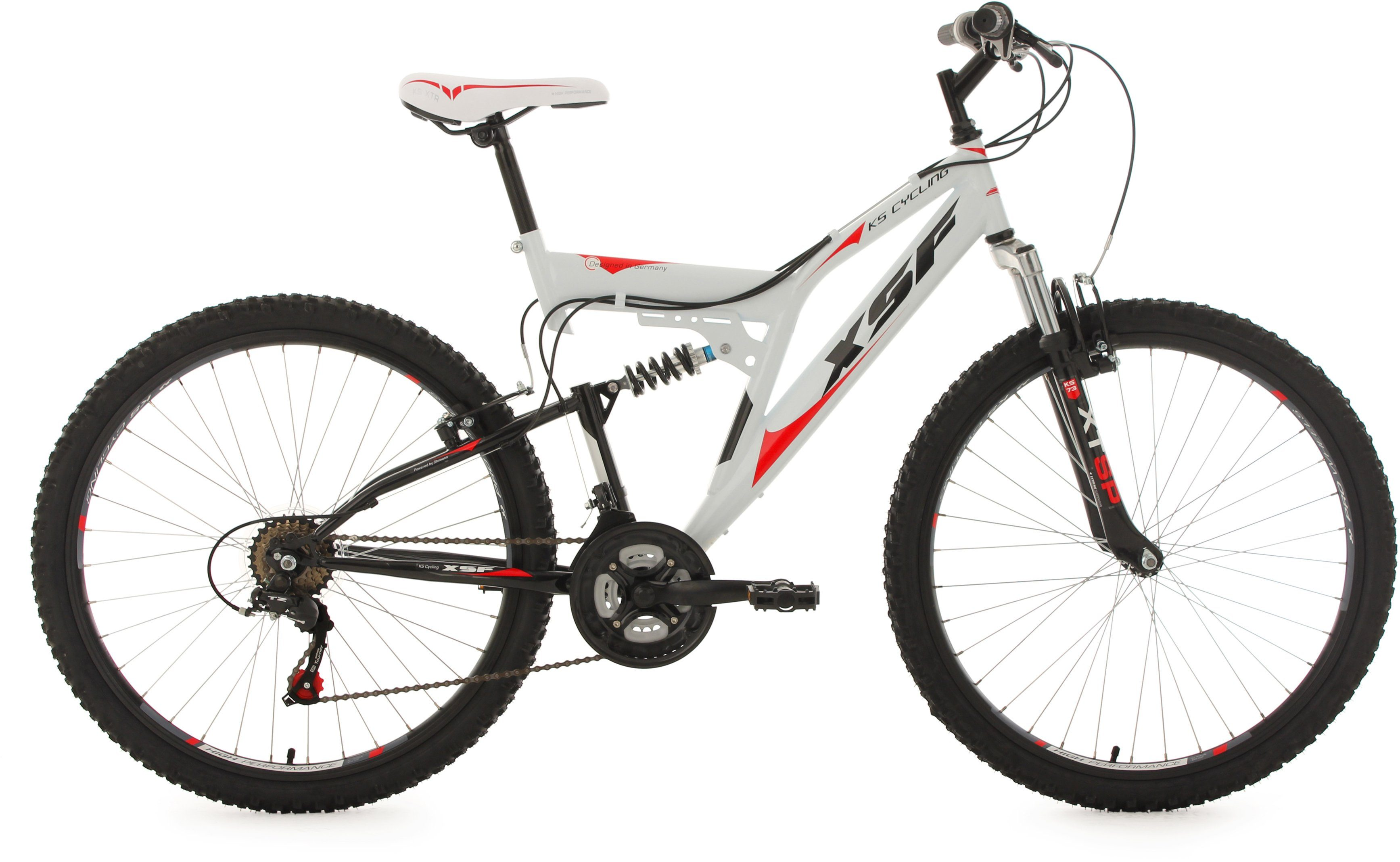 KS Cycling Hardtail-Mountainbike Herren, 26 Zoll, weiß-rot, 21 Gang-Kettenschaltung, »XSF«