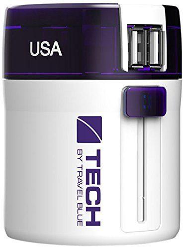 "Travel Blue Universal-Reiseadapter ""Twist and Slide"" mit Doppel-USB-Ladegerät"