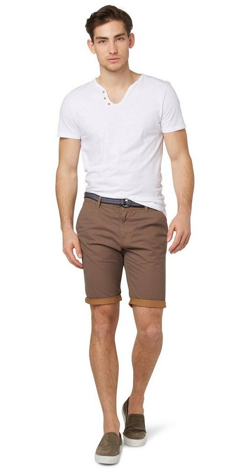 TOM TAILOR DENIM Shorts »allover printed chino« in brown