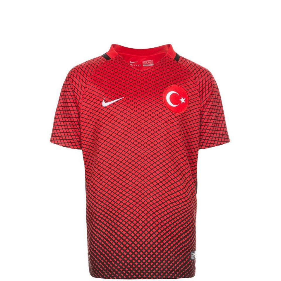 NIKE Türkei Stadium Trikot Home EM 2016 Kinder in rot / schwarz
