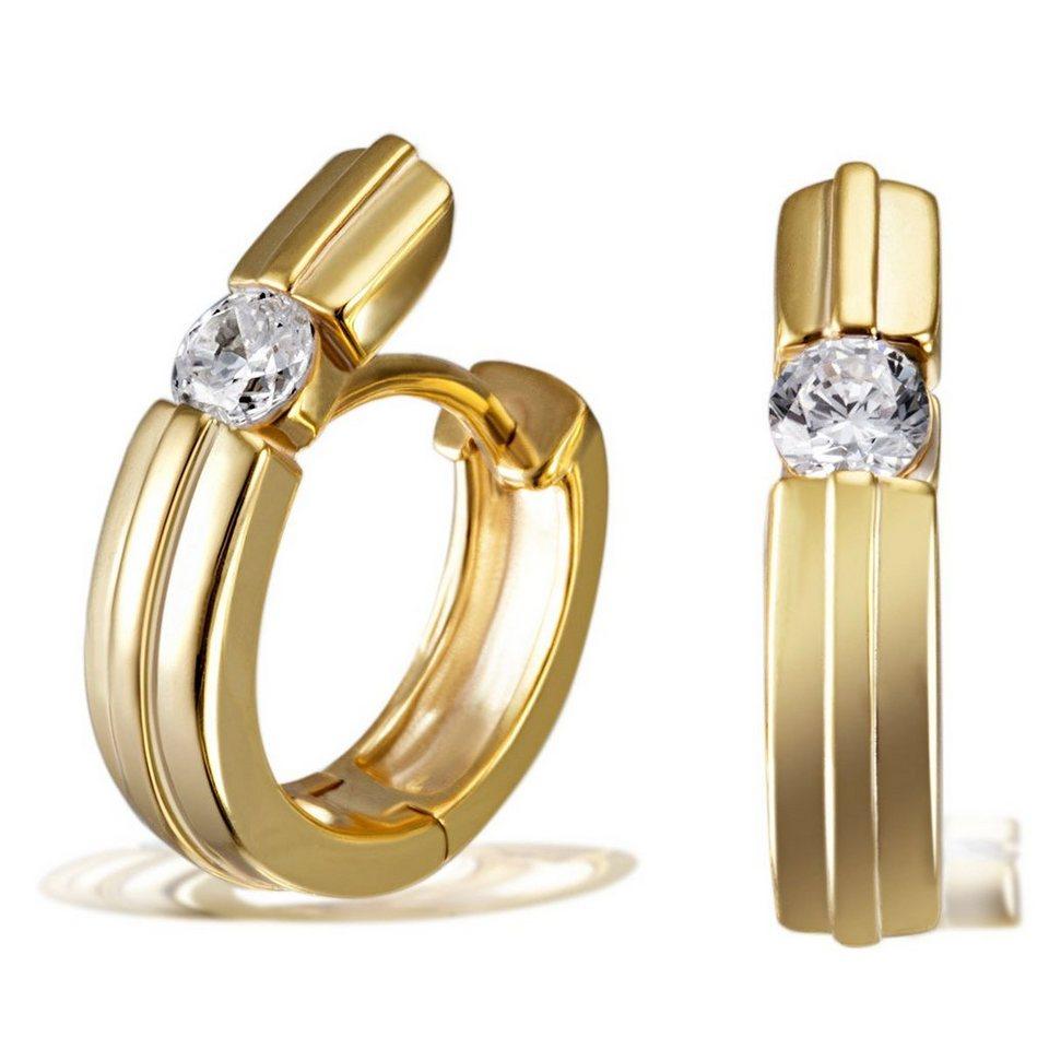 goldmaid Paar Creolen 925/- Sterlingsilber gelb vergoldet 2 weiße Zirkoni in goldfarben