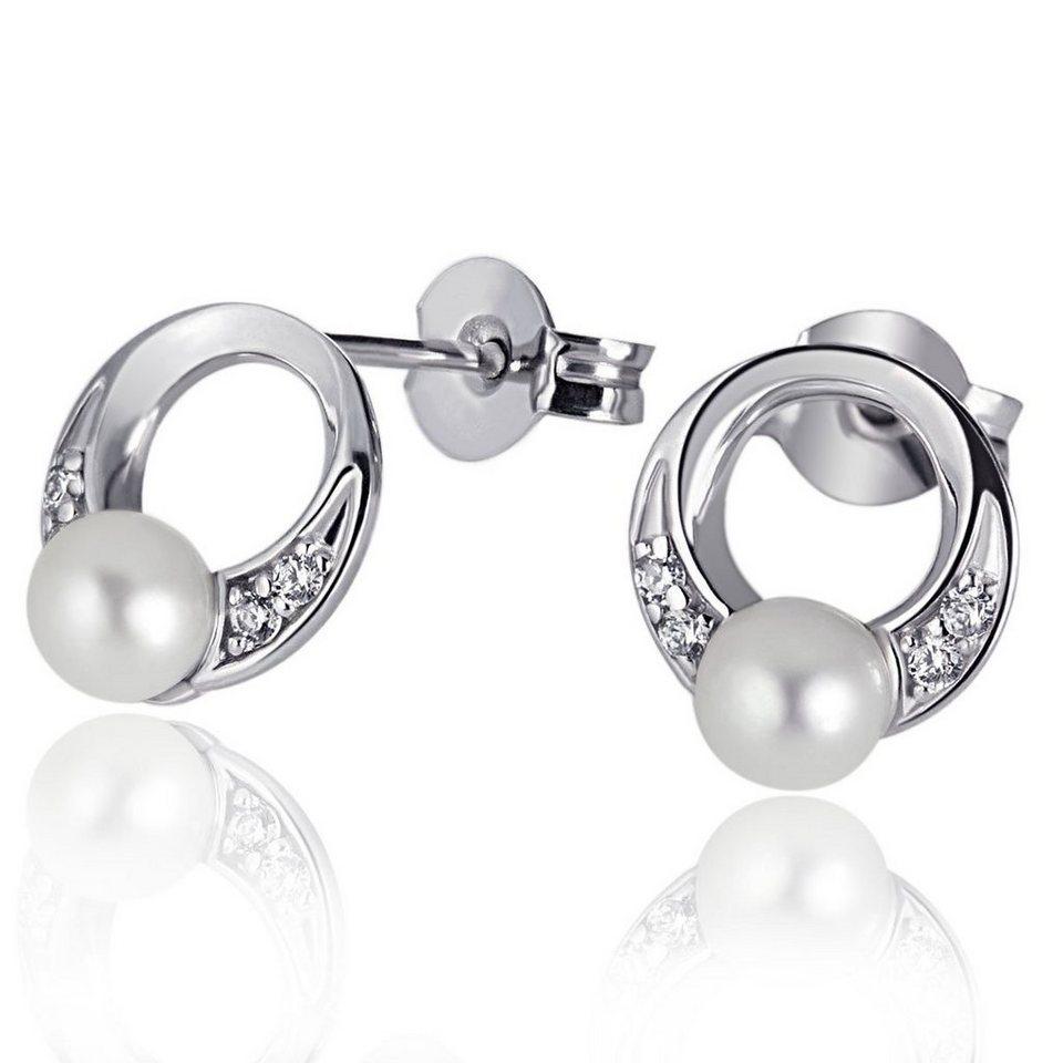 goldmaid Paar Ohrstecker Tina 925/- Sterlingsilber 2 Perlen 8 weiße Zirko in silberfarben