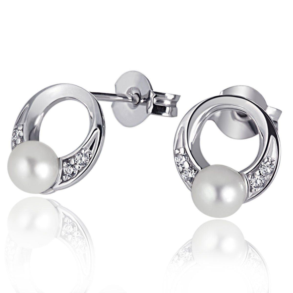 goldmaid Paar Ohrstecker Tina 925/- Sterlingsilber 2 Perlen 8 weiße Zirko