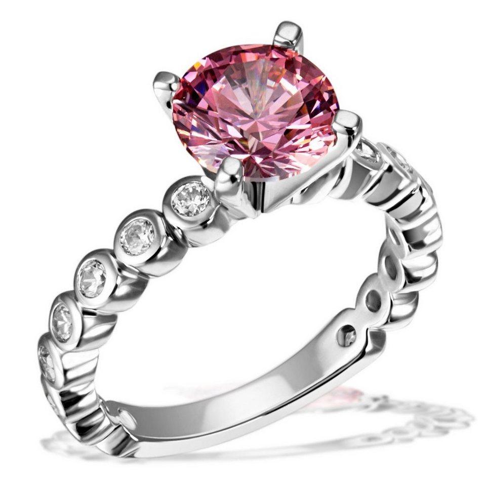 goldmaid Damenring Fancy Pink 925/- Sterlingsilber 16 weiße Zirkonia 1 pi in silberfarben