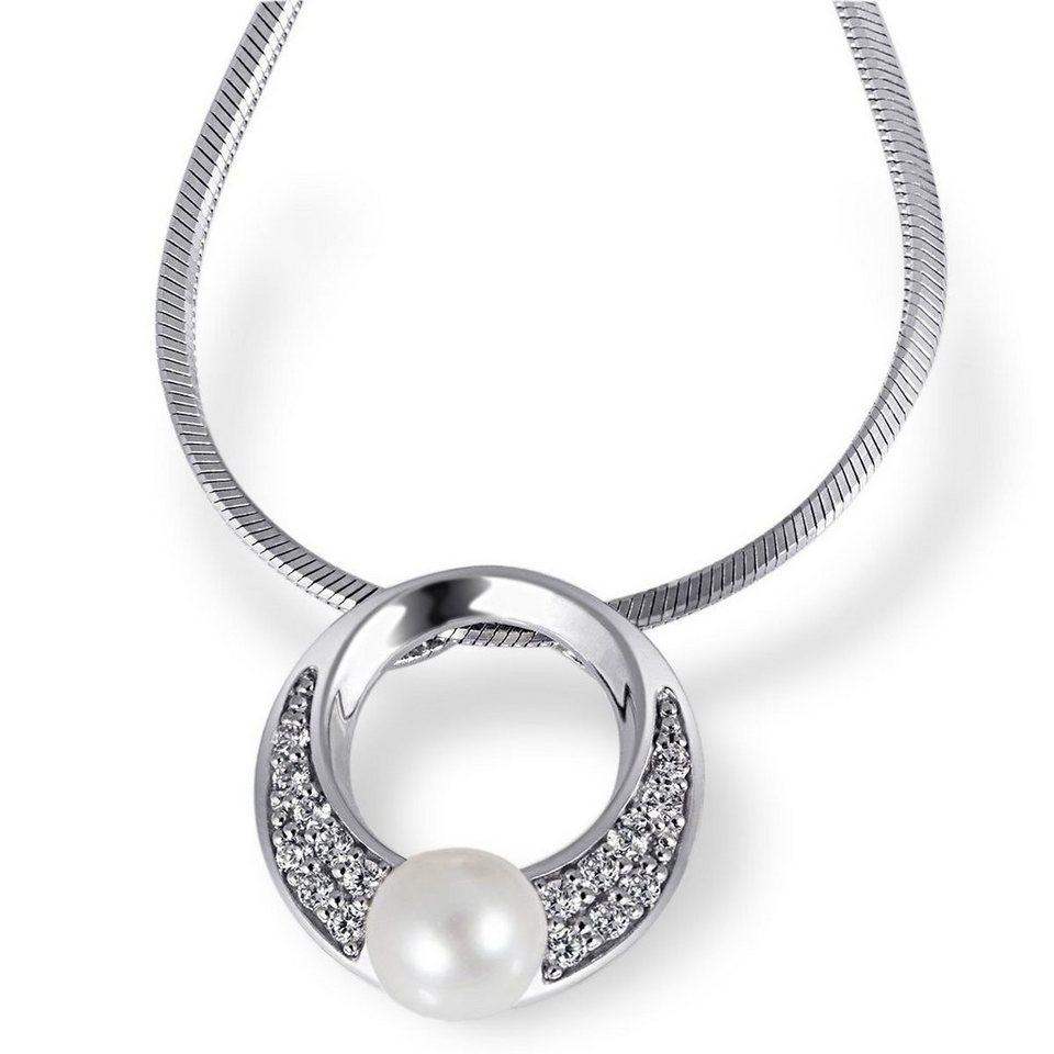 goldmaid Collier Tina 925/- Sterlingsilber 1 Perle 16 weiße Zirkonia in silberfarben